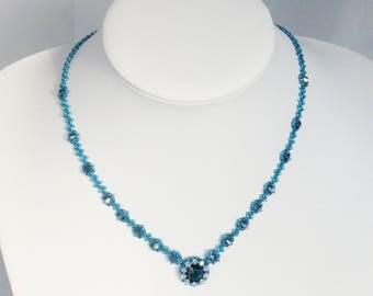 Blue Crystal Necklace, Montana Blue Swarovski, Evening Jewellery, Something Blue, Crystal Bridesmaid Necklace, Beadwork Jewelry,