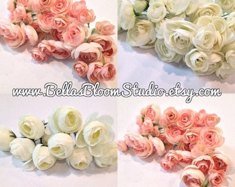 Ranunculus Flowers Blush Pink, Artificial Flowers, Silk Flowers, Millinery, Ranunculus Buds. Flower Heads. Floral Supplies,Hat Etsy