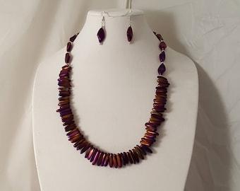 Metallic Purple Glass Bead Jewelry Set - Metallic Purple Jewelry - Purple Jewelry - Purple Necklace - Purple Earrings - Purple Jewelry Set