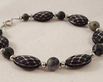 Black Checkered Oval Bracelet - Black Bracelet - Checkered Bracelet - Oval Bracelet - White Bracelet - Checkers - Checker - Black Jewelry