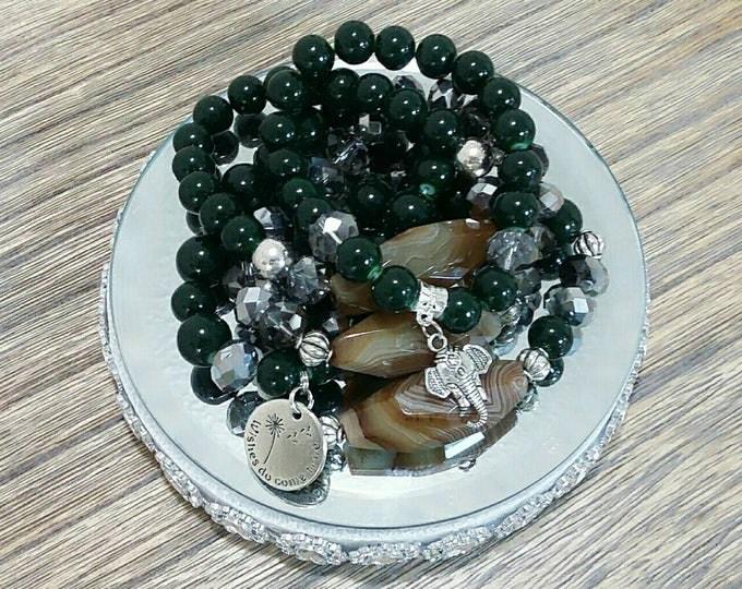 Elephant Forest Green Agate Bracelet Set