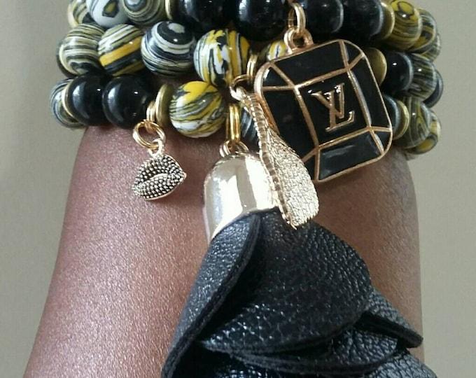Designer Inspired Ladies Yellow, black and white charm beaded bracelet  Set, gifts for her, anniversary gift's, stocking stuffers