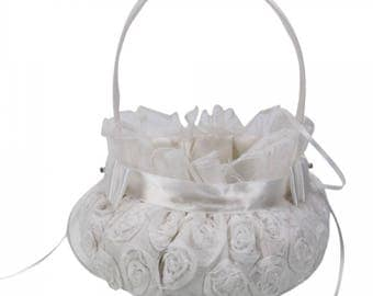 Embroidered Wedding Flower Girl Basket Prime White
