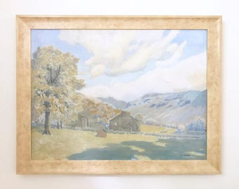 Barn Landscape with Mountains Large Original Vintage Oil Painting on Canvas Signed Framed