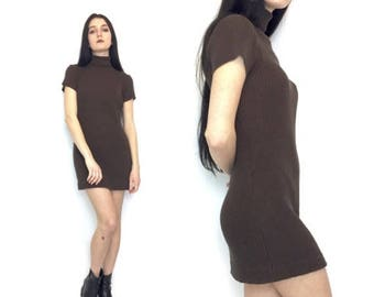 SUMMER SALE Vintage 90s Chocolate Brown Ribbed Short Sleeve Turtle Neck Mini Dress Body Con Size Small