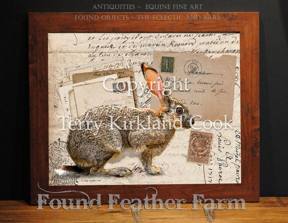 """The Mad Hare ~ Original Vintage Art Collage 20"""" x 24"""" Framed Giclee Print"""