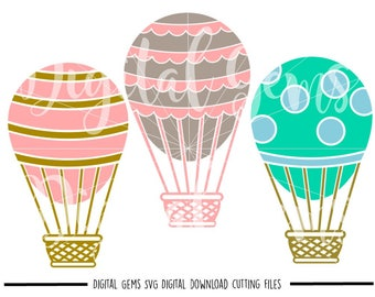 Hot air balloon svg / dxf / eps / png files. Digital download. Compatible with Cricut and Silhouette machines. Small commercial use ok.