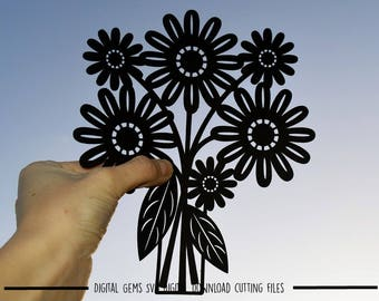 Flower paper cut svg / dxf / eps / files and pdf / png printable templates for hand cutting. Digital download. Small commercial use ok.