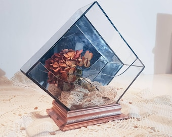 Mirror diamond 60s terrarium / wood and glass / Vintage / Potpourri