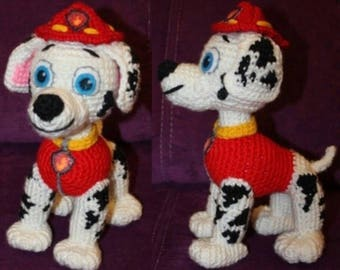 Paw Patrol Marshall crochet pattern  (English), PDF format.
