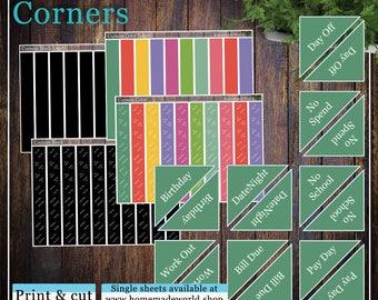 Corners, Print & cut, SVG, FCM, ScanNCut, Silhouette, Cricut, Happy planner