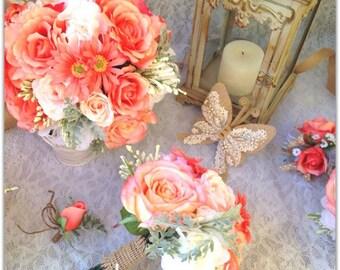 Coral bouquet, set or individual bouquet.