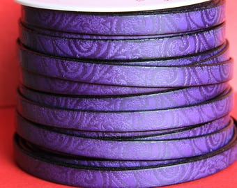 "MADE in EUROPE 24"" flat leather cord, embossed 10mm purple leather cord, engraved leather cord (503/10/06)"