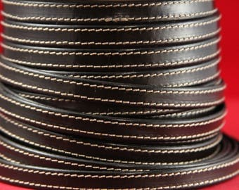 "MADE IN SPAIN 24"" flat stitched leather cord, brown 10mm flat leather cord, 10mm stitched leather cord (240/10/02)"