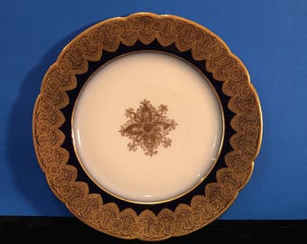 Antique Limoges Plate - Cobalt Blue and Gold Trimmed in 24K Gold