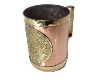 large vintage copper and brass cup
