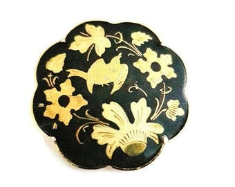 vintage Toledo brooch, Damascene jewelry