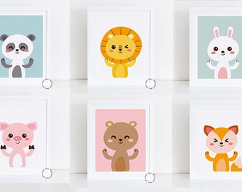 Animals Prints, Nursery Wall Art, Nursery Decor, Kids Poster, Printable, Home Decor, Prints, Wall Art, Baby Shower Gift, Cute Nursery