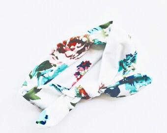 Floral tie knot baby headband, stretchy tie knot headband