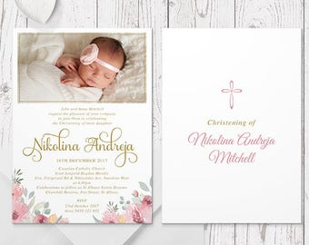 Gold Floral Christening or Baptism Photo Invitation, Delicate Pinks Flowers, Professionally Printed, Peach Perfect Australia