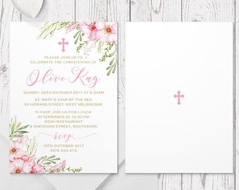 Pink Flower Girl Christening or Baptism Invitation, Gold Text, Floral, Professionally Printed, Peach Perfect Australia