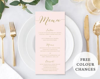 Wedding Menu, Custom Printable Menu, Blush Pink and Gold, Free Colour Changes, DIY Wedding, Elegant Blush Suite