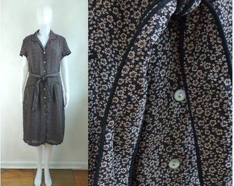 40%offAug22-24 90s floral day dress size large 12, flower print button down shirt dress belted sheath crepe rayon dress black brown
