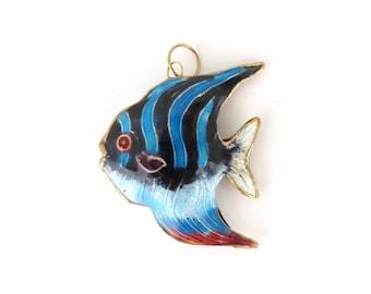 enamel fish necklace pendant, ocean beach angel fish aquatic animal pendant 80s costume jewelry jewellery 1980s blue black red gold