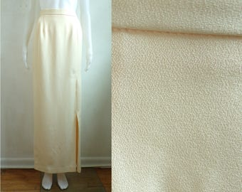 "40%offAug18-21 70s crepe maxi skirt ivory textured evening skirt long minimalist skirt slit 1970s column skirt womens medium 29-30"" waist"