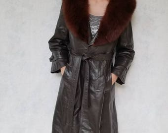1970s 24K leather jacket with red fox fur collar
