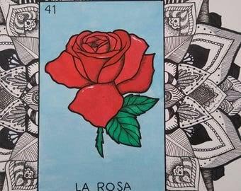 La Rosa Loteria Mandala ~ Art Print