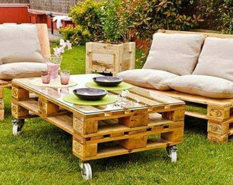 Pallet garden furniture - rustic sofa, table and chair