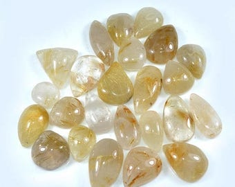 50% SALE 24 Piece Wholesale Lot 217 Ct. Natural Golden Rutile Quartz Cabochon Assorted 12 to 22 Mm Loose Gemstone - Making Jewelry
