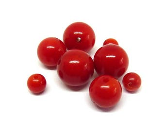 Red coral bead Ø 6 mm PF0100 has individually gem stone semi precious