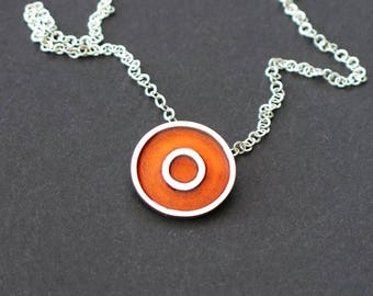Solid silver chain 950 with enamelled pendant necklace