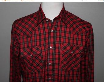 SALE Vintage 80s Red Black Plaid Western Shirt 46 Chest Pol/Cotton Blend Rockabilly