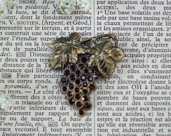 Vintage Grape Brooch - Red Rhinestones - Vintage Jewelry