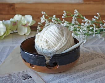 Brown Knitting Bowl - Handmade Pottery - Chocolate and Caramel - Large Yarn Bowl - Wool Bowl - Knit- Crochet -  Unique Gift - Ready to Ship