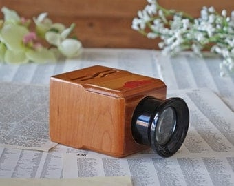 Vintage wood viewer REX in original box Chromat-O-Scope slides viewer for 2 1/4 x 2 1/4 and 2 3/4 x 2 3/4