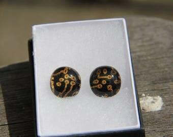 Gold circuit dichroic stud earrings, fused glass earrings, gold dichroic,  stud earrings, gold dichroic, pierced earrings, glass jewelry