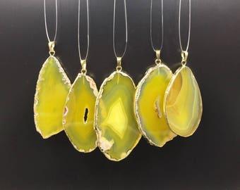 Yellow Agate Slice Pendant Gold Plated Agate Pendant Natural Drusy Agate Quartz Pendant Bright Yellow Agate Druzy Pendant AGSDP