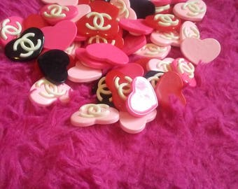 fancy heart cabochons mix