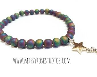 druzy agate bracelet, silver star bracelet, beaded bracelet for women, jewelry handmade, gemstone beaded bracelet, stacking bracelets