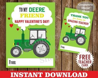 Instant Download / Tractor / Valentine Card / Valentines Card / Farm / Green / Valentine's Day / Tags / teacher / Kids / Classroom / VCard45