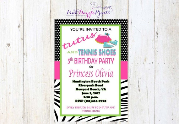 5x7 printable tutus and tennis shoes birthday party invitation any il570xn filmwisefo