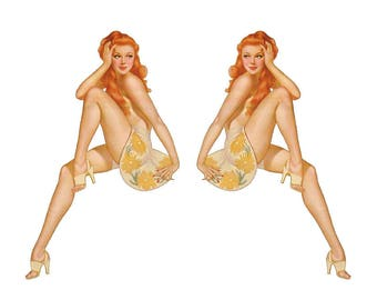 Set of 2 Remote Control (RC13) Pin Up Girl RC Airplane Sticker Decal