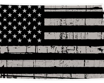 North Dakota State (N35) Distressed Flag Vinyl Decal Sticker Car/Truck Laptop/Netbook Window