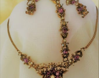 FAB vintage CORO parure-faux amethyst and seed pearls-REFURBISHED