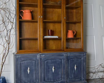 Refinished Drexel China Cabinet / Hutch - Painted in blue with dry brush technique.