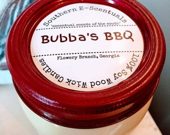 Bubba's BBQ, Soy Candle, Bacon, Hickory Smoke, Maple Wood Wick Candle, Wooden Wick, Mason Jar Candle, Southern Gift, Man Cave Candl